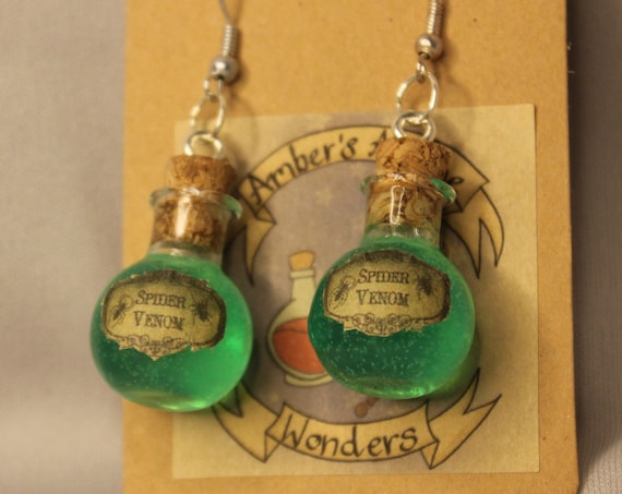 D&D Potion Bottle Earrings, Alchemy, Healing Potion, Dungeons and Dragons Jewelry