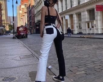 Y2K 90's Color Block Jeans | Streetwear