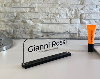 Custom plex name sign personalized for office desk reception hotel guest book table