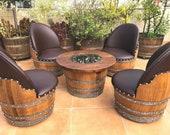 wine barrel 4-chair half-barrel full table set