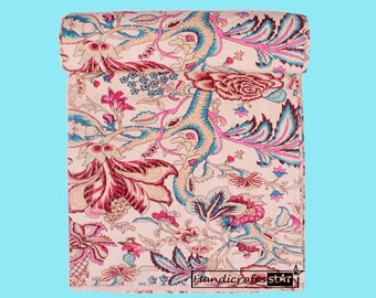 Indian Handmade Kantha Quilts Beige Color Blankets King Size Bedspreads Floral Print Bedcover Home Décor Coverlet Hand Stitched Boho Gudri