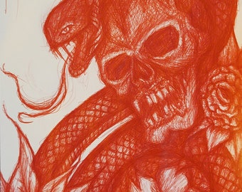 Snake and Skull with flowers Red Ball Point Bic Pen Biro Sketch Tattoo Design
