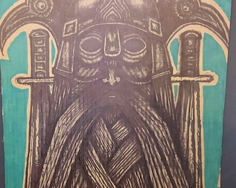 Viking Head Norse Warrior Face Beard Inked Tattoo Artwork Cardboard Art Print Sharpie Drawing Illustration