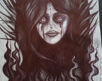 Demonia Gothic Emo Woman Face Black Ball Point Bic Pen Biro Sketch Classic Tattoo Design