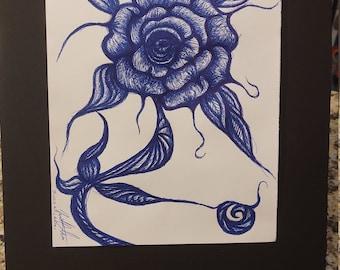 Biro 'Ballpoint' Pen Sketch Rose Tattoo Artwork Pen and Ink Flower