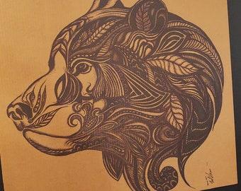 Grizzly Bear Inked Tattoo Artwork Cardboard Art Print Sharpie Drawing Illustration