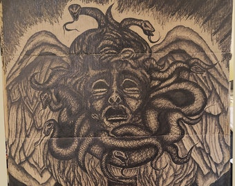 Medusa Face Statue Snakes Head Inked Tattoo Artwork Cardboard Art Print Pigma Drawing Illustration