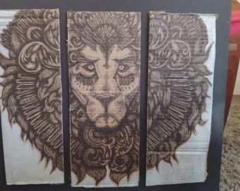 Lion Face Head Pen Ink Tattoo Artwork Amazon Cardboard Art Print Silver Metallic Sharpie  Drawing Illustration