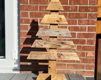 Handmade rustic wooden Christmas tree, Christmas decoration.