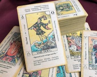 CUSTOM HANDMADE Tarot Deck Rider Waite Keyword Textured Edition, 78 cards, handmade, beginner, zodiac, correspondence *Free US shipping*