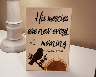 """New Mercies Stand-up or Hanging Picture 6"""" x 4"""""""