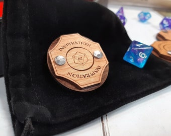 Inspiration Token - D&D, Dungeons and Dragons 5e accessory RPG tabletop hardwood and hand riveted Dungeon Master's tool