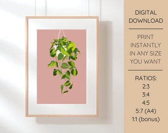 Philodendron Brasil Plant Illustration Printable Wall Art   Instant Download