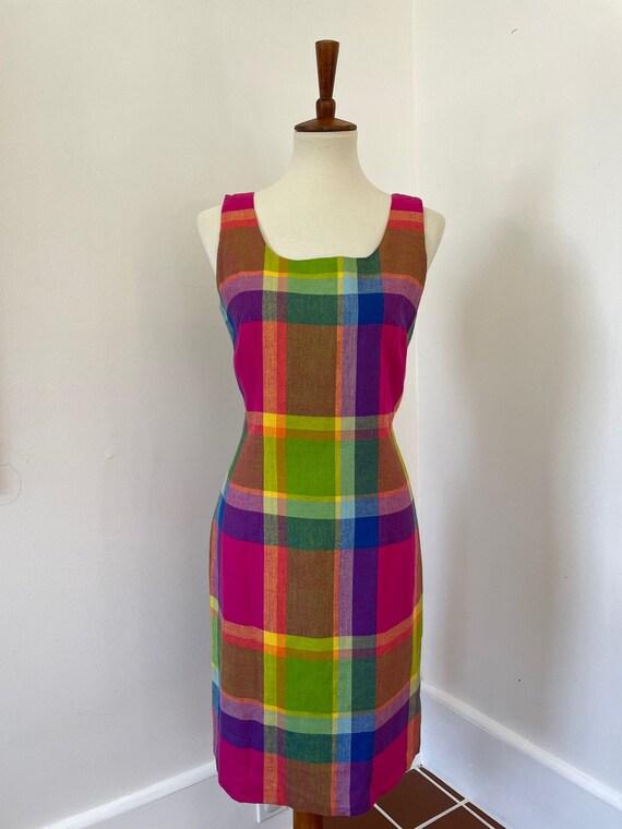 Vintage 100% silk plaid sleeveless dress