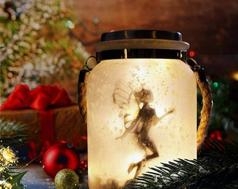 Solar Lantern Fairy Glass Jar Lights Great Gifts White Frosted Hanging Solar Lights Outdoor Decorative 20 Warm White Mini LED String Lights