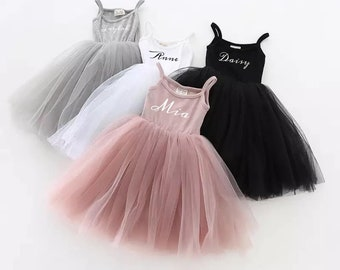 Personalised tutu birthday girls dress / baby dress / party outfit/ lace flower girl wedding  / ballet toddler gown