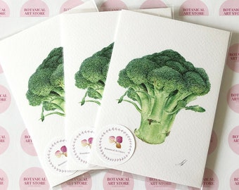 Broccoli - greeting card, Set of 3 postcards. Botanical gift, Vegetable Illustration, Kitchen decor, gift for gardeners, Watercolor Painting