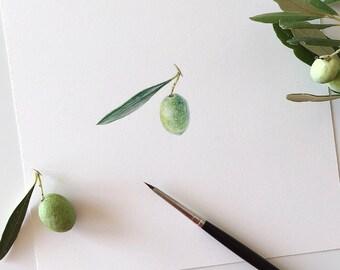 Olive Illustration - ORIGINAL Art, Greece olive, Botanical Art, Watercolour Original Painting, Illustration, Kitchen decoration, Home decor