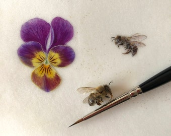 Violet Pansy and Honey bee, miniature watercolour - ORIGINAL ART, Botanical art, Painting, illustration, Realistic style, Home decor