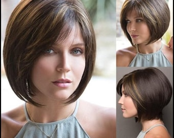 Short Bob Dark Brown Wigs with Bangs Trendy Hairstyle Cute Synthetic Wig