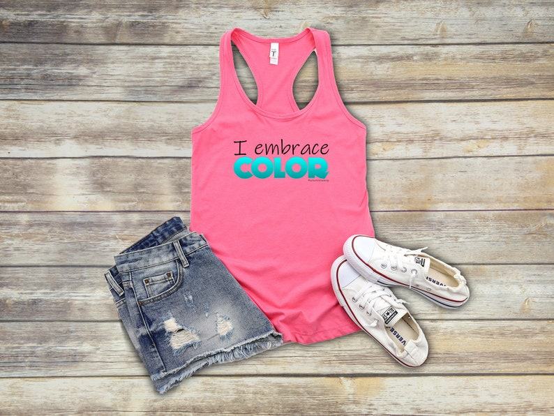 I Embrace Color Tank Top in Hot Pink and Aqua  Interior image 1