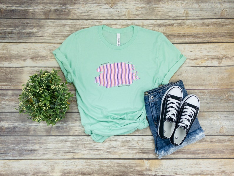 Embrace Pattern Tee Shirt in Mint and Waves  Interior Design image 1