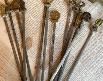 Unusual antique skewers. Lovely detailing to the handle.