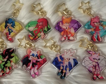 Sonic the Hedgehog Chaos Emerald 2 inch Acrylic Charms    Sonic Shadow Silver Tails Amy Knuckles Rouge Blaze