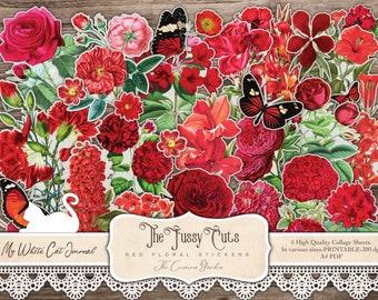 Vintage Red Flower Stickers, Fussy Cuts, Junk Journal, Ephemera, Collage Sheet, Floral Illustrations, Scrapbook, Printable, Digital Download