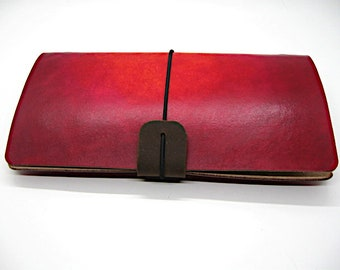 """Leather Midori style Traveller's Notebook for (11x21cm, 4 1/4 x 8 1/4"""") Red Nova."""