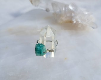 Amazonite Sterling Silver 925. Crystal Ring, in our Wednesday design, Wire Wrapped Crystal Ring