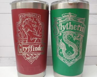 Laser Engraved Yeti - Harry Wizard Houses - Inspired 20oz Tumbler with Lid -Polar Camel