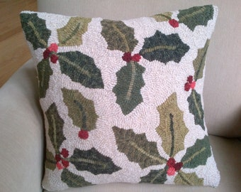 """Holly Pillow Rug Hooking Pattern - Digital Download - (Copyright Protected! - Please See """"FAQs"""" For Copyright Details)"""
