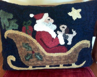 """Santa's Sleigh Friend Rug Hooking Pattern - Digital Download - (Copyright Protected! - Please See """"FAQs"""" For Copyright Details)"""