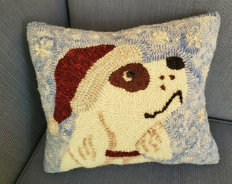 """Santa Pup Rug Hooking Pattern - Digital Download - (Copyright Protected! - Please See """"FAQs"""" For Copyright Details)"""