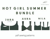 Hot Girl Summer Crop Top Sewing Pattern Bundle Set A4 Letter PDF Off Shoulder Wrap Minimalist Chic Sustainable Schnittmuster