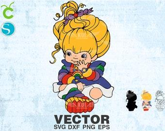 vector Rainbow Brite SVG png dxf eps, diseño vintage de los 80, descarga para corte impresion o sublimacion