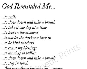 Poem Digital Print-God Reminded Me