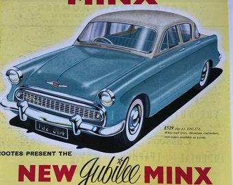 Large Vintage Advertisement for Hillman Minx/ Rootes Motors. 1957.