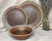 Clay Dinnerware Set of 3, Ceramic Dinnerware Set, Pottery Dinnerware Set Rustic, Handmade Dish Set Pottery