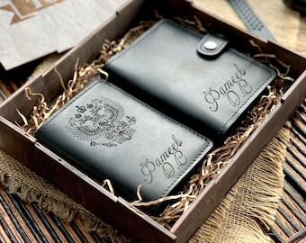 Gift set, auto documents, passport cover, gift to husband, name gift, personalized gift, gift to dad
