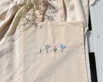Pouch Flower Jute Bag Totebag Cotton Embroidery Aesthetic Minimalist Hand Embroidered Flower Motif Shopping Bag Shopping