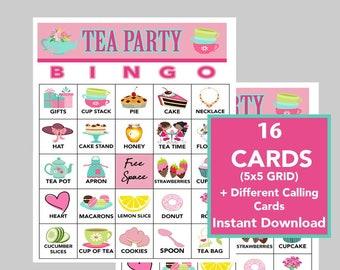 Tea Party Bingo, Tea Party Games, Birthday party, Download, Bingo Games, Printable Games, Virtual Games, 16 cards