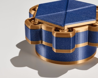 Mechanical Dice Box - Blue and Gold