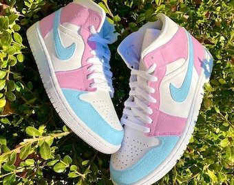 Womens Colorful Rave Shoes Trippy Pink Blue Cute Psychedelic Cotton Candy High Tops Swirling Marbled Paint Sneakers Vibrant Abstract Fashion