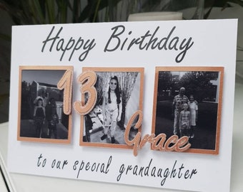 Personalised photo birthday card - birthday card for grandaughter - 13th birthday card - special grandaughter card - photo card