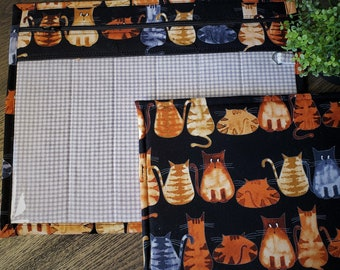 Cross Stitch Project Bag - Project Bag for Cross Stitch - Project bag organizer - Vinyl Front Cross Stitch Organization Bag-Cats