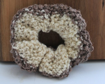 Jumbo Two-Tone Knit Scrunchie - Cozy, Upcycled, Sustainable, Textured, White, Brown