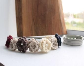 Romantic Knit Flower Crown - Hippie Boho Flower Crown, Head Chain Flower HeadBand, Festival Flower Crown, Upcycled