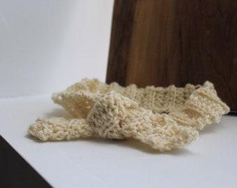 Hair Scarf - Cream, Crochet, Upcycled, Hippie, Bohemian